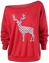 9d6f6277cf Dooxi Damen Neuheit Rentier Drucken Sweatshirts Kalte Schulter Langarm  Weihnachten Sweatshirt Pullover
