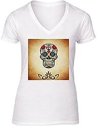 Camiseta V Cuello para Mujer - Halloween Horror Cráneo Asustadizo by Grab My Art