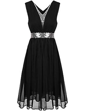 cooshional Damen Elegant Abendkleider V-Ausschnitt Ärmellos Elastische Hohe Taille Knielang Pailletten Kleider