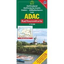 ADAC Radtourenkarte Ostfriesland, Ostfriesische Inseln, Emden, Wilhelmshaven, Leer: 1:75000
