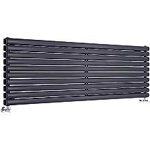 Hudson Reed Radiador de Diseño Horizontal Doble - Negro - 590mm x 1600mm x 78mm -