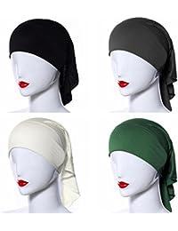 Ksweet 4 x Pañuelo Islamico Mujer Balaclava Hijab Sombrero Tube Bonete (black+beige+grey+green)