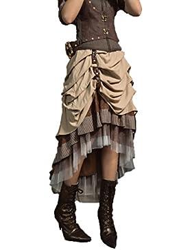 Gothic Fashion Retro Ladies Satén plisado falda Steampunk asimétrico elegante Halloween Masquerade una línea falda...