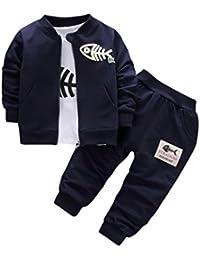 Kobay 3 STÜCKE Kinderbaby Kleidung Jungen Kleidung Outfits & Set Top Mantel + T-Shirt + Hose Fisch