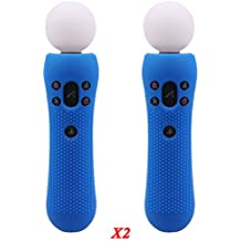 Pandaren® STUDDED silicone cover skin anti-slip for PS VR MOVE controller x 2 (blue)