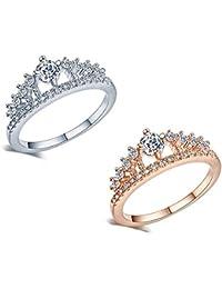 BESTEU Mujeres Corona Tiara Anillos Exquisito Princesa Tiny Diamond Promise Anillos Tamaño ...
