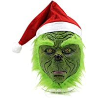 Miminuo Mask with Santa Hat Christmas Costume Props Scary Latex Full Head Mask