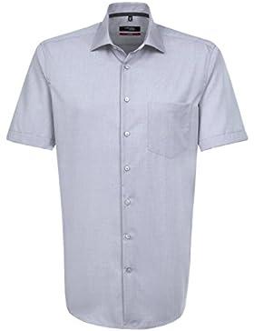 Seidensticker Herren Businesshemd Modern Kurzarm violett uni mit Kent-Kragen
