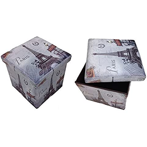 Taburete Paris Metro gris Original GMMH Box Caja de asiento con forma de cubo plegable banco baúl reposapiés para guitarristas