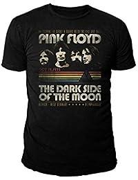 Pink Floyd - Herren Rock Band Logo T-Shirt - Dark Side Retro Stripes (Schwarz) (S-XL)