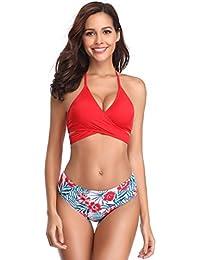 f2c5e2655211cf SHEKINI Damen Dunkle Farbe Geteilter Badeanzug Push up Bikini Set Neckholder  Bikini Oberteil Mit High Waist Bikini…