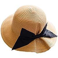 Sombrero de paja grande arco, sombrero del sol recorrido del verano, sombrero de playa Sra balneario plegable