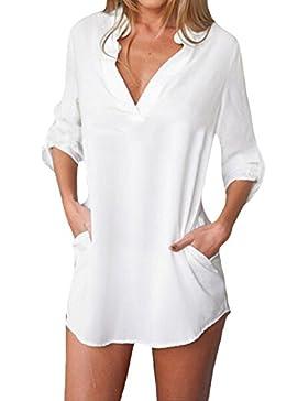 ZANZEA Mujer Camiseta Casual con Manga Larga Cuello V De Gasa Blusa De Tallas Grandes