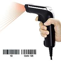 Vibration-sensing Barcode Scanner, USB Handheld Laser Bar Code Reader scanner Noir