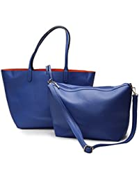 2 In 1 Women Leather Satchel Shoulder Bag In Bag Totes Handbag Double Purse