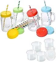 GRÄWE Henkelgläser Set (4 x 450 ml) - 4er Pack Trinkgläser mit Deckel und Strohhalm, Henkel & Schraubversc