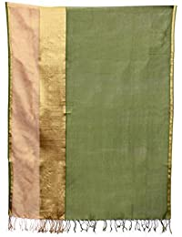 Women's Designer Cotton Silk Zari Embroidery Dupatta Of Green And Golden Color For Girls/women BY Sui Dhaagaa
