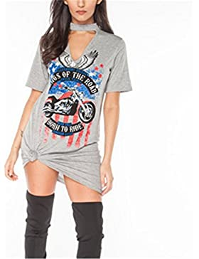 Camisetas Mujer Blusas de Mujer SHUNLIU Águilas de la Motocicleta Impreso Camiseta Mujer Atractiva Camisetas y...