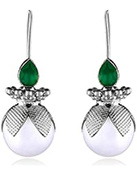 Ahilya Jewels Dakshin collection .925 Sterling Silver Onyx Drop Earrings