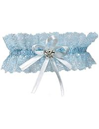 Elastisches Brautstrumpfband - Must Have zur Hochzeit - Mit funkelnden Kristallen in Schmetterlingsform - BLAU - WEIß/BLAU - CREME/BLAU (Ivory/Blau)