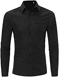 BUSIM Men's Long Sleeve Shirt Fashion Personality Classic Retro Slim Lapel Button Solid Color Button T-Shirt Tops...