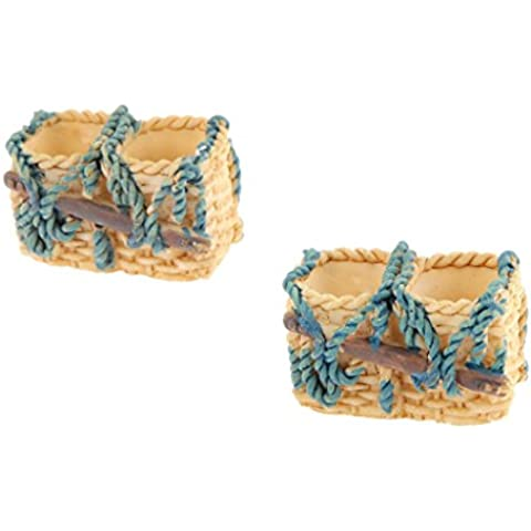 2pcs Miniatura Bonsai Casa de Muñecas Jardín Hadas Micro Paisaje Cesta de Mimbre Decoración