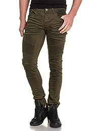 BLZ jeans - Jean homme kaki froissé nervuré
