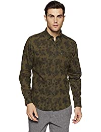 John Players Men's Printed Slim Fit Cotton Casual Shirt
