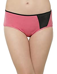 Clovia Women Cotton Mid Waist Hipster with Perforated Panel