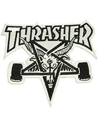 Thrasher Skategoat - Parche, color blanco y negro
