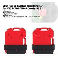 2 Unids Tanque Simulado de Gasolina de Combustible de Combustible de Combustible se Monta para 1/10 AX10 SCX10 Vehículo Vehículo de RC de Rueda Todo Terreno RC4WD TRX-4 (Color: Rojo)