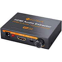 Neoteck HDMI Audio Extractor 4K DAC HDMI Audio Extractor with Volume Adjustment HDMI to Optical Spdif Toslink + R/L(RCA) + 3.5mm Stereo Audio Converter for Blu-ray DVD Player SKY HD Box PS3