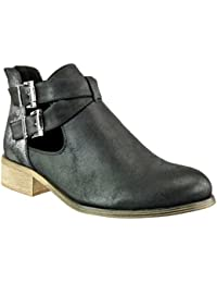 Angkorly - Zapatillas de Moda Botines chelsea boots cavalier stile vendimia mujer brillantes tanga Hebilla Talón Tacón ancho 3 CM - Negro
