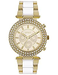 Spirit Ladies Analogue Round Golden Dial With White Bracelet Link Strap ASPL91x
