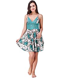 Freely Turquoise color Floral Printed Babydoll Nighty