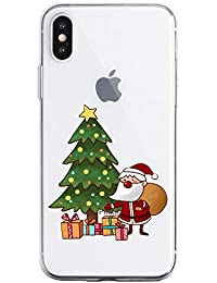 Oihxse Case Compatible con Samsung Galaxy A520/A5 2017 Funda Transparente Silicona Suave Carcasa Protectora Navidad Santa Deer Diseño de patrón Creativo Ultra Slim Flexible Cover