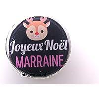 """un miroir de poche argenté """" joyeux noël marraine"""" 56mm idée cadeau noël..."""