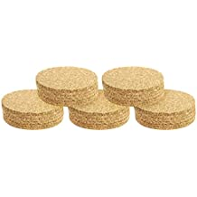 COM-FOUR® Tapete de corcho 24x, natural, redondo, Ø 10 cm
