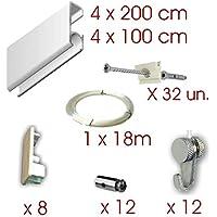 MARCS ARIAS SL Pack Basic RM de 12 Metros Guías de Aluminio (Blanco Mate)