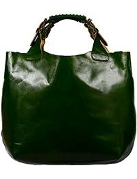 attractive verde bolso de mano de cuero en la mano Elizabeth Verde