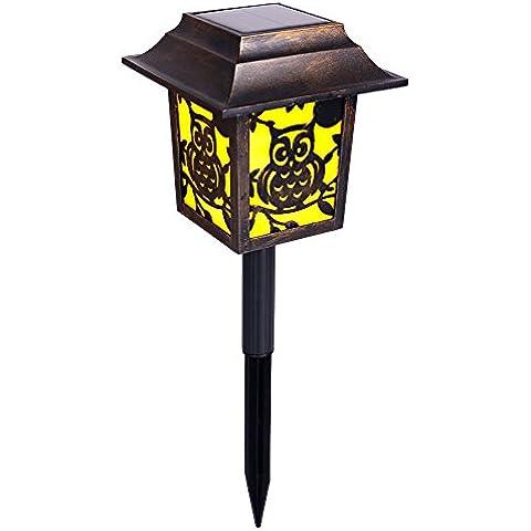 Luces solares de jardín, linterna LED accionado despertador Homecube luz solar para el búho de parques y jardines, Patio, decoraciones sensor de luz Camino (1 pieza)
