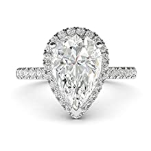 Sterling Silver Simulated Pear-Shaped Diamond Halo Engagement Ring with Side Stones Promise Bridal Ring (3.5)