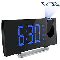 Mpow Radio Despertador Digital, Despertador Proyector con Alarma de Proyección de FM y Alarmas Dual, Radio Reloj Despertador con Proyector, Función Snooze, Pantalla LED de 5 pulgadas con Atenuador