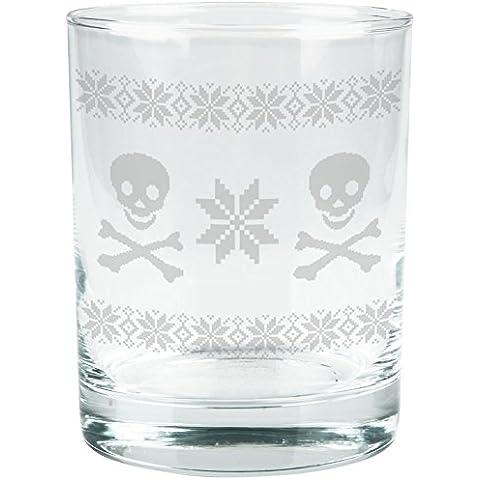 Skull & Crossbones Felpa natalizia-Bicchiere in vetro, con incisione