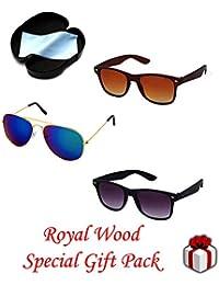 c4aaaebef9 Royal Wood Gift Pack UV Protected Wayfarer + Aviator Sunglasses for Men and  Women (RW) (Combo pack of 3(Blue Mercury+Black+Brown…
