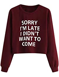 b7822ed5621cd Sweat-Shirt Femme Court Chic Sweathirt Fille Ados Pull Chic Imprimé Lettre  Hiver Tonsi