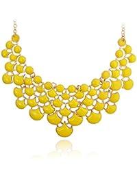 Jane Stone–Collier Statement–Ginkgo Arbre forme de feuille or alliage collier en résine et métal
