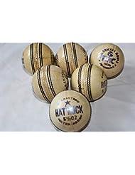 C.R.K - Palline da Cricket in Pelle, Confezione da 6, Colore: Bianco