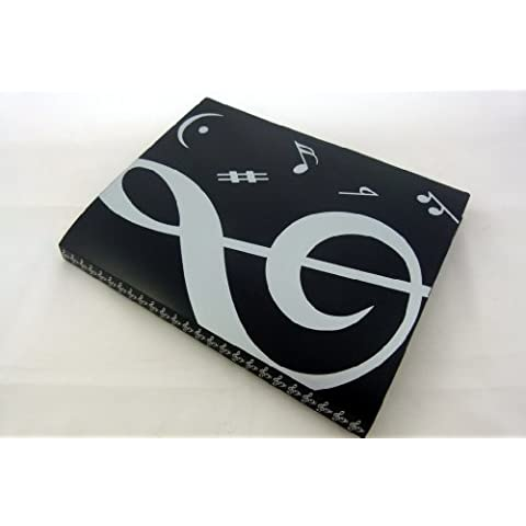 Music Themed 20 bolsillos de plástico Folder Display Book Cubierta Suave - Cubierta Negro Blanco Clef agudo Diseño