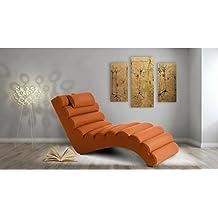JUSTyou RELIKS Fauteuil Relax Chaise Longue Divan Mrdienne Simili Cuir LxLxH 75x168x80 Orange